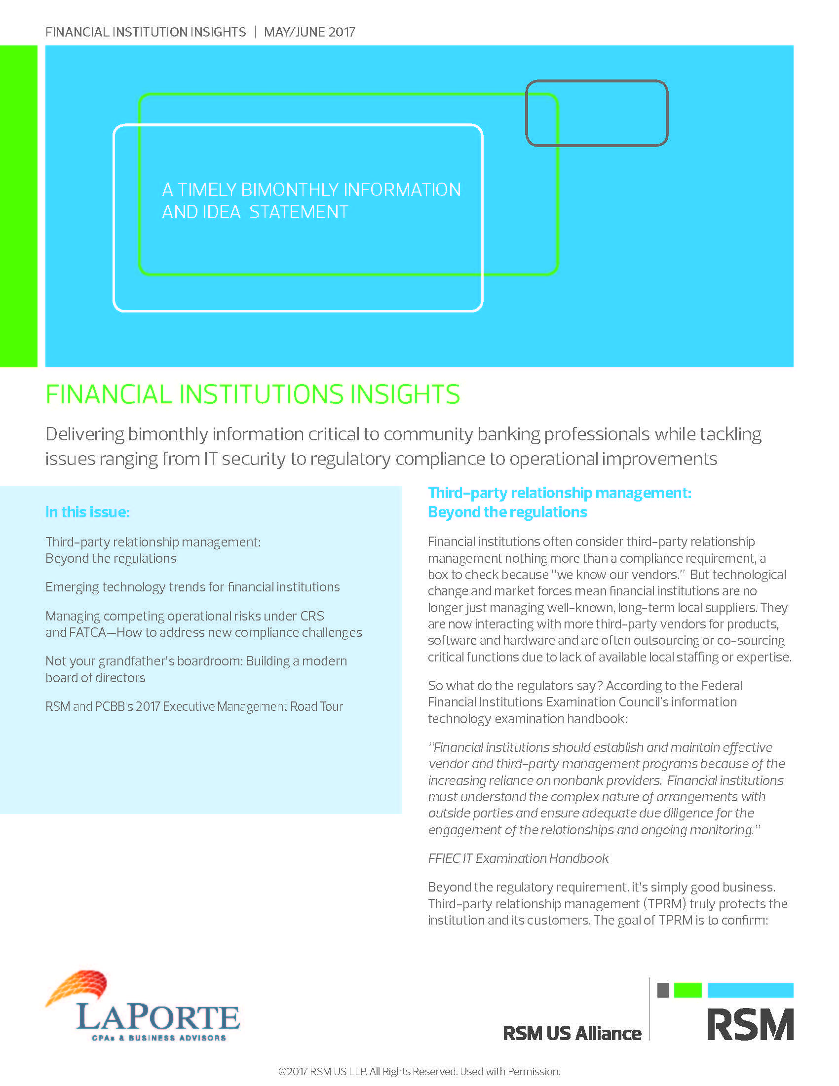 Financial Institutions Insights May Junel 2017